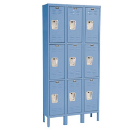 Hallowell U3228-3MB Premium Locker Triple Tier 12x12x24 9 Door Ready To Assemble Blue