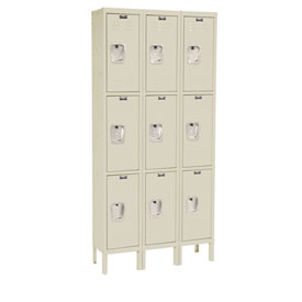 Hallowell U3288-3PT Premium Locker Triple Tier 12x18x24 9 Door Ready To Assemble Parchment