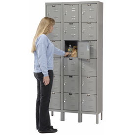 Hallowell U3228-6HG Premium Locker Six Tier 12x12x12 18 Door Ready To Assemble Gray