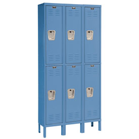 Hallowell U3228-2MB Premium Locker Double Tier 12x12x36 6 Door Ready To Assemble Blue