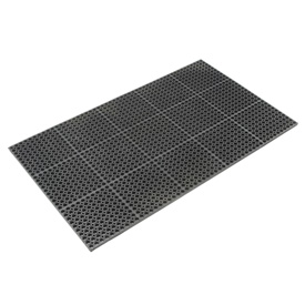 "Cushioned Comfort Drainage Matting 7/8"" Thick 3'W X 5'L Black Grease Resistant"