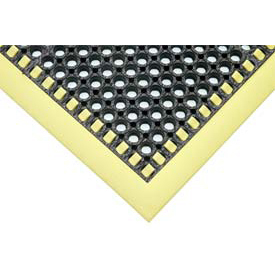 Hi-Visibility Safety Drainage Matting With Grit Top 3-Sided Border 38x64 Yellow