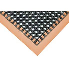 Hi-Visibility Safety Drainage Matting With Grit Top 4-Sided Border 40x124 Orange