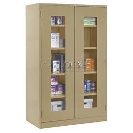 Global™ Clear View Storage Cabinet Assembled 36x18x78 - Tan