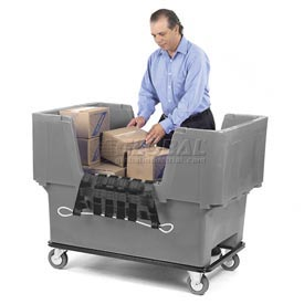 Dandux Gray Easy Access 18 Bushel Plastic Mail & Box Truck 51166718A-5S with Cargo Net