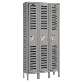 Hallowell U3288-1HDV-HG Heavy-Duty Ventilated Locker Single Tier 12x18x72 3 Door Unassembled