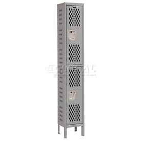 Hallowell U1228-2HDV-HG Heavy-Duty Ventilated Locker Double Tier 12x12x36 2 Door Unassembled