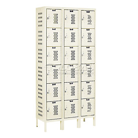 Hallowell U3228-6HDV-PT Heavy-Duty Ventilated Locker Six Tier 12x12x12 18 Door Unassembled