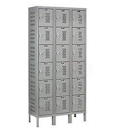 Hallowell U3258-6HV-A-HG Heavy-Duty Ventilated Locker Six Tier 12x15x12 18 Door Assembled