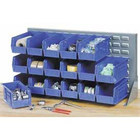 "Louvered Bench Rack 36""W x 20""H with 22 of Blue Premium Stacking Bins"