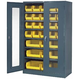 Locking Storage Cabinet Clear Door 48x24x78 With 29 Yellow Stacking Bins and 6 Shelves Unassembled