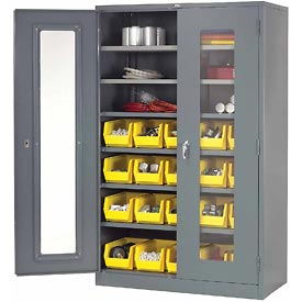 Locking Storage Cabinet Clear Door 48x24x78 With 20 Yellow Stacking Bins and 6 Shelves Assembled