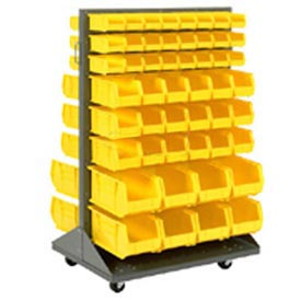Mobile Double Sided Floor Rack With 24 Yellow Akrobins 36 x 54
