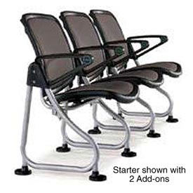OFM ReadyLink Add-On Chair, Charcoal with Silver Frame