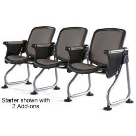 OFM ReadyLink Add-On Chair with Tablet, Charcoal with Silver Frame
