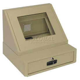 LCD Console Counter Top Security Computer Cabinet - Putty