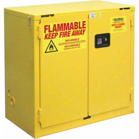 "Global™ Flammable Cabinet - 22 Gallon - Self Close Double Door - 34""W x 18""D x 35""H"