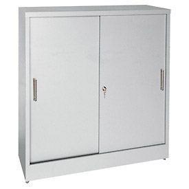 Sandusky Sliding Door Counter Height Storage Cabinets BA1S361829 - 36x18x29, Gray