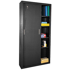 Sandusky Elite Series Sliding Door Storage Cabinets Ba4S361872 - 36X18X72, Black