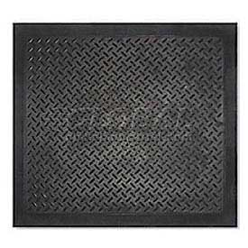 "Modular Diamond Top Rubber Matting Single Tile 1/2"" Thick 28""X31"" Black"