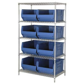 "Quantum WR5-955 Chrome Wire Shelving With 8 24""D Bins Blue, 42x24x74"