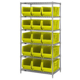 "Quantum WR6-953 Chrome Wire Shelving With 15 24""D Bins Yellow, 36x24x74"