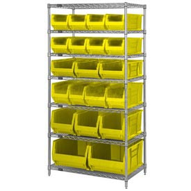 "Quantum WR7-20MIx Chrome Wire Shelving With 20 24""D Bins Yellow, 36x24x74"