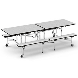 "Virco® MTB17298 Folding Roll-A-Way Table 96""L Gray Nebula Top Seats 8"