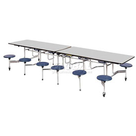 """Virco® Folding Mobile Cafeteria Table with Seats - 144""""L - Gray Nebula Top - 16 Navy Seats"""