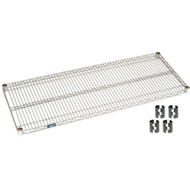 "Nexel S1860EP Silver Epoxy Wire Shelf 60""W x 18""D with Clips"