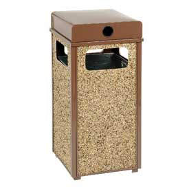"Global™ Stone Panel Trash Weather Urn Brown 13-1/2"" Square X 35""H"