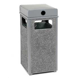 "Global™ Stone Panel Trash Weather Urn Gray 13-1/2"" Square X 35""H"
