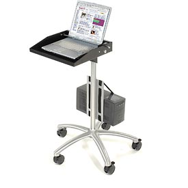 "Mobile Laptop Workstation with CPU Holder, 16""W x 13-1/2""D x 40""H, Black/Silver"