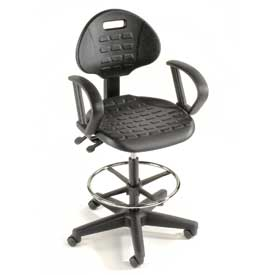 Ergonomic Stool With Arms - Polyurethane - 5 Way Adjustment - Black  sc 1 st  Global Industrial & Polyurethane u0026 Ergonomic Work Stools | Industrial Chairs u0026 Stools islam-shia.org