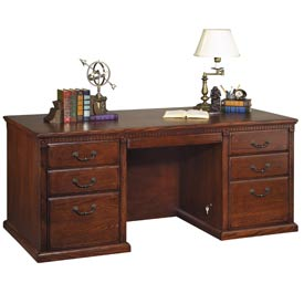 Huntington Club Double Pedestal Executive Desk - Vibrant Cherry