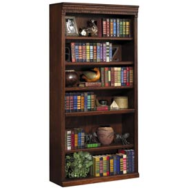 "Martin Furniture 72"""" Open Bookcase - Vibrant Cherry - Huntington Club Series"