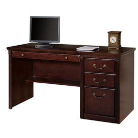 Martin Furniture Single Pedestal Computer Desk - Vibrant Cherry - Huntington Club Series