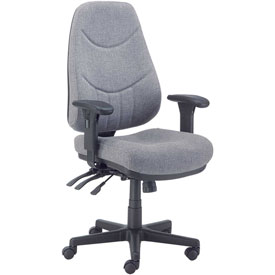 Multifunctional Office Chair with Arms - Fabric - Mid Back - Gray Seat Black Base