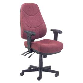 Multifunctional Office Chair with Arms - Fabric - Mid Back - Burgundy Seat Black Base