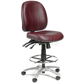 Antibacterial Stool - 8 Way Adjustable - Vinyl - Burgundy