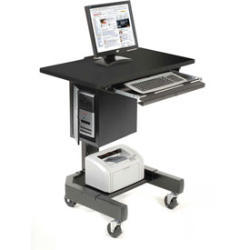 "Mobile Computer Cart, 27""W x 24-1/2""D x 41""H, Black"