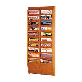 20 Pocket Oak Wall Rack Medium Oak