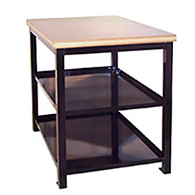 24 X 36 X 36 Double Shelf Shop Stand - Maple - Black