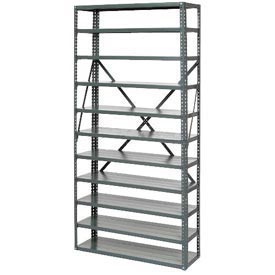 "Open Style Steel Shelf With 6 Shelves No Bins 36""Wx12""Dx39""H Ready To Assemble"