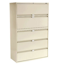 "Global™ 9300 Series 36""W 5 Drawer Binder Lateral File - Putty"