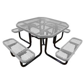 "46"" Octagonal Picnic Table Gray Expanded Metal Surface Mount Style"
