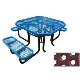 "46"" Octagonal Picnic Table (Ada) Blue Perforated Metal Surface Mount Style"
