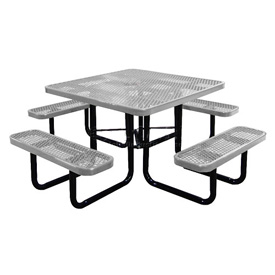 "46"" Square Picnic Table Gray Expanded Metal Surface Mount Style"