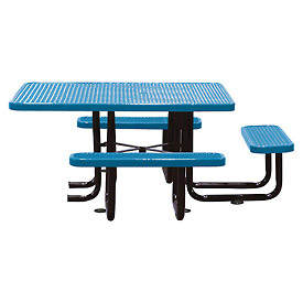 "58"" Picnic Table (ADA) Blue Expanded Metal Surface Mount Style"