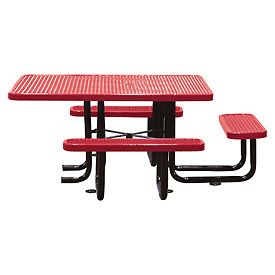 "58"" Picnic Table (ADA) Red Expanded Metal Surface Mount Style"